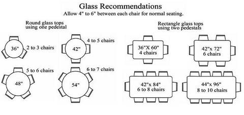 Glass Sizes For Chairs Around A Table Recommended Number Of Chairs Chart