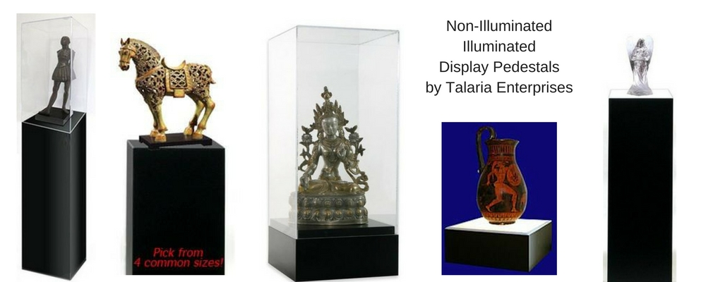 Displaying Art On Display Pedestals Talaria Enterprises Museum Store Impressive Lighted Display Stand For Glass Art